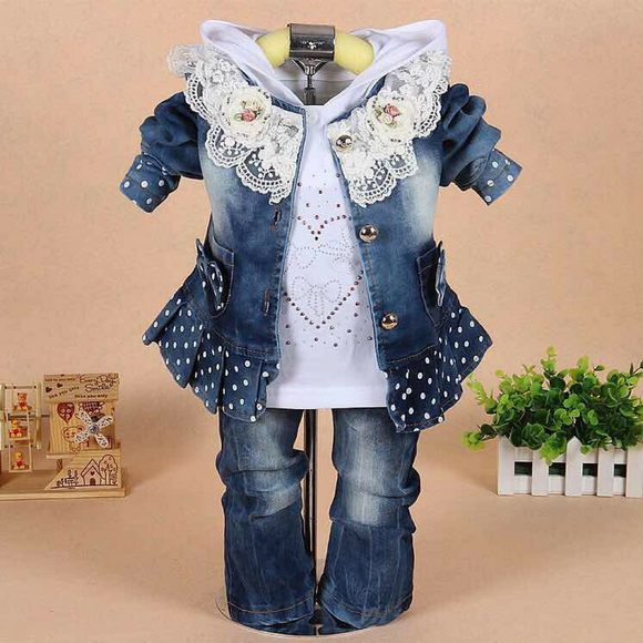 New!Baby Girl Cowboy Three-Piece Sets Outfit