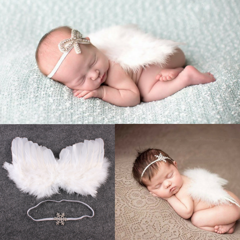 Baby Classic Rhinestones Hairband And Angel Feather Wings