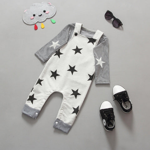 Baby cotton striped T-shirt star belt pants suit