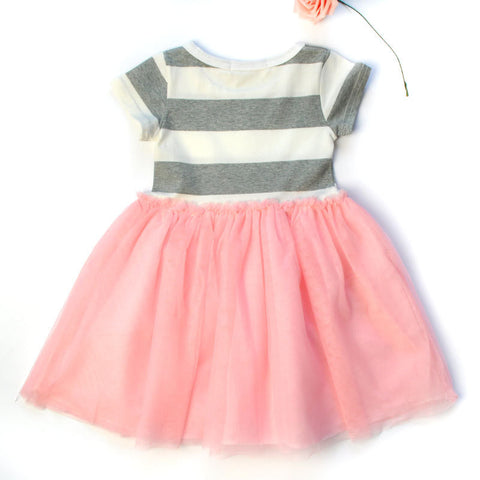 Girls stripes short sleeve net yarn princess dress