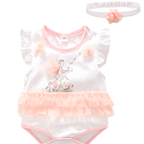 Female baby pink little flying jersey + hair band