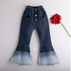 Baby / Toddler Solid Bell Sleeves Top and Bellbottom Jeans Set