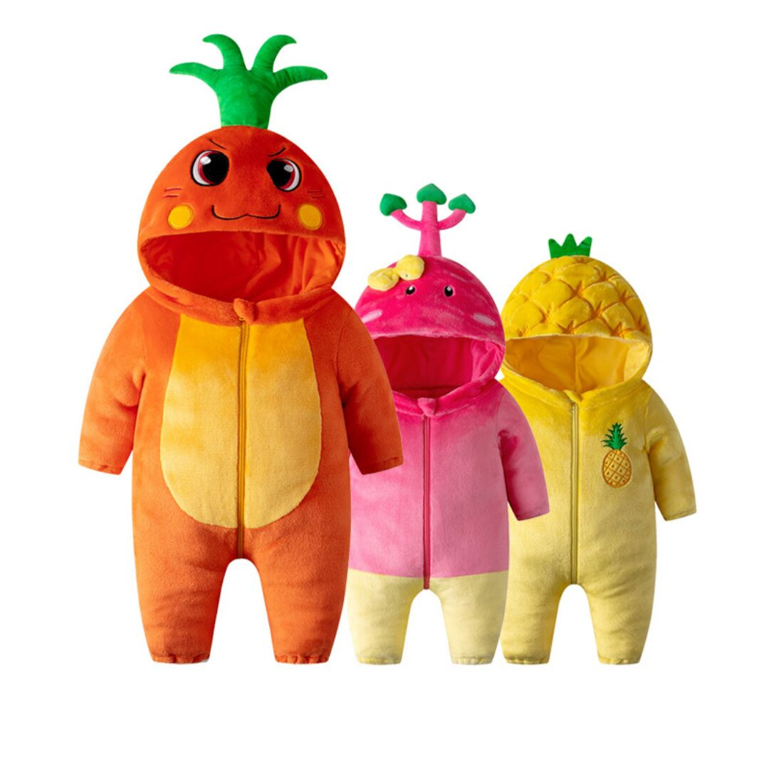 Baby Boy & Girl Carrots Cartoon Fruit Plant Vegetables Hooded