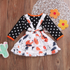 2-piece Baby / Toddler Halloween Polka Dots Blouse and Pumpkin Bowknot Suspender Skirt Set
