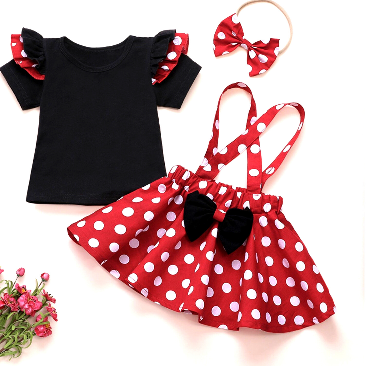3-piece  Baby / Toddler Solid Flutter-sleeve Top and Polka Dots Overall Skirt Set