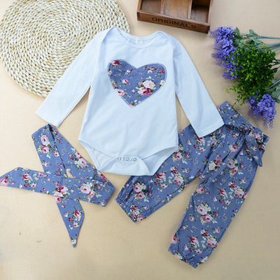 3-piece Baby / Toddler  Bodysuit and Floral pants  with Headband Set