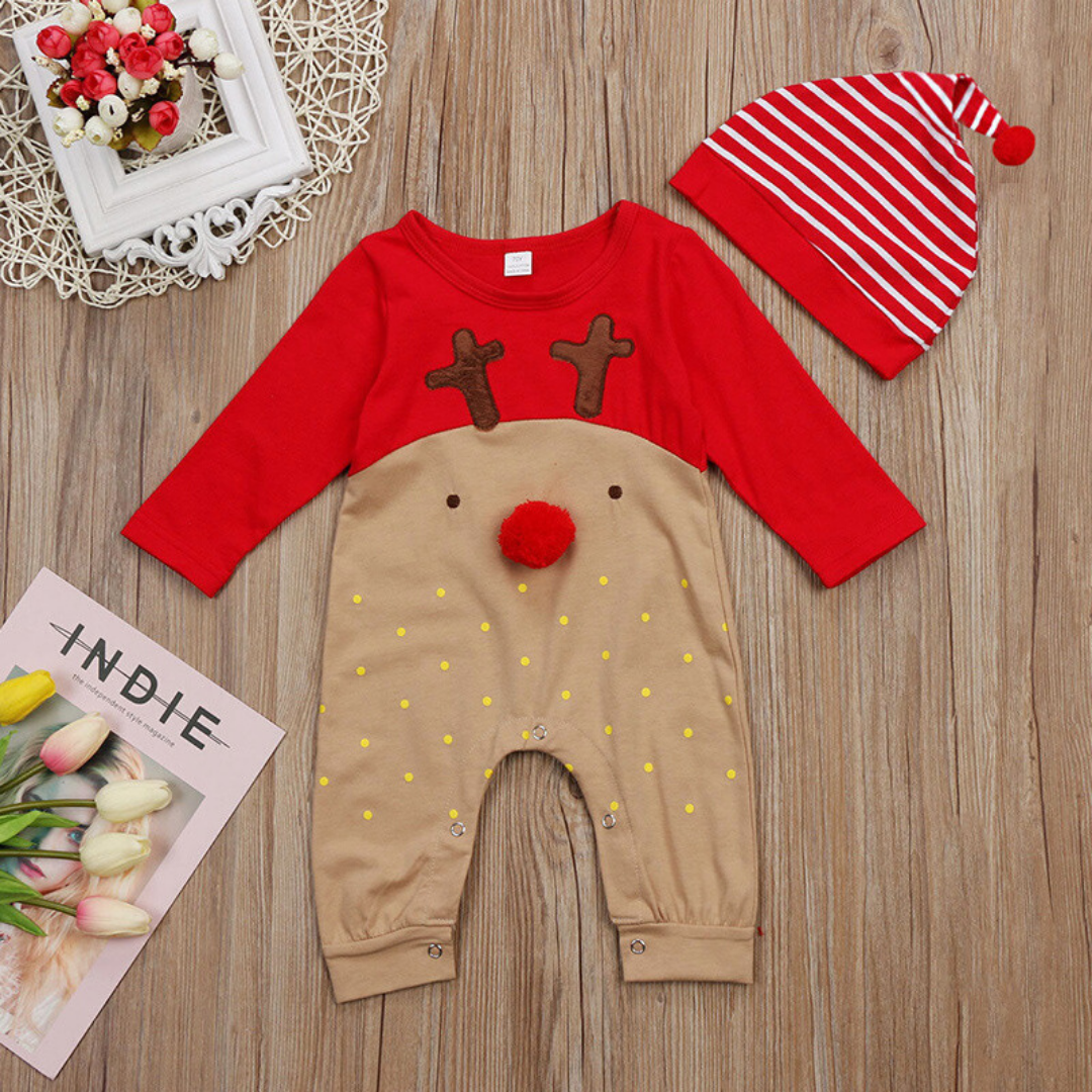 Baby Beautiful Christmas Long-sleeve Jumpsuit and a Hat
