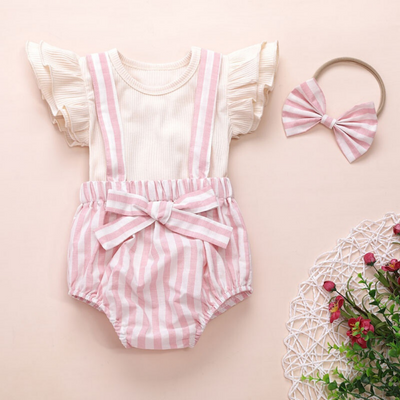 3-piece Solid Flutter-sleeve Top and Suspender Shorts Set