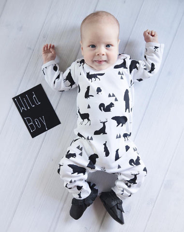 Baby small animals printed long sleeves pants