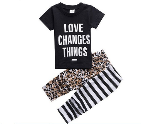 baby Letter short sleeve T shirt + leopard striped pants 2 sets
