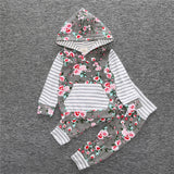 Small and medium - sized children 's striped hooded long sleeve