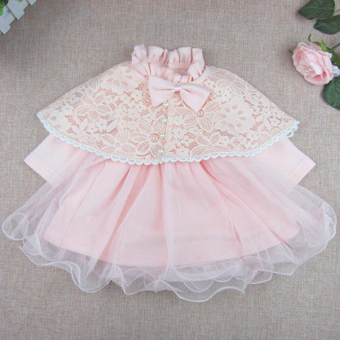 Cute sweet cotton lace princess skirt with cloak