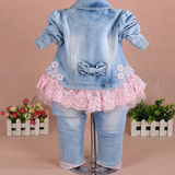 Baby GirL Lace Flower Cowboy Three Pieces