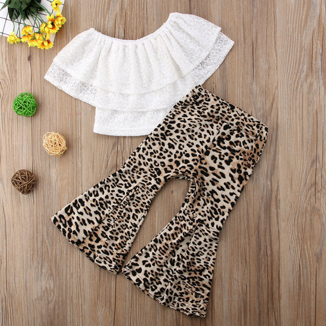 Solid top Leopard Pants Set