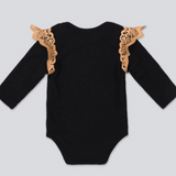 2017 The New baby Black Long-Sleeved Yarn Skirt Suit