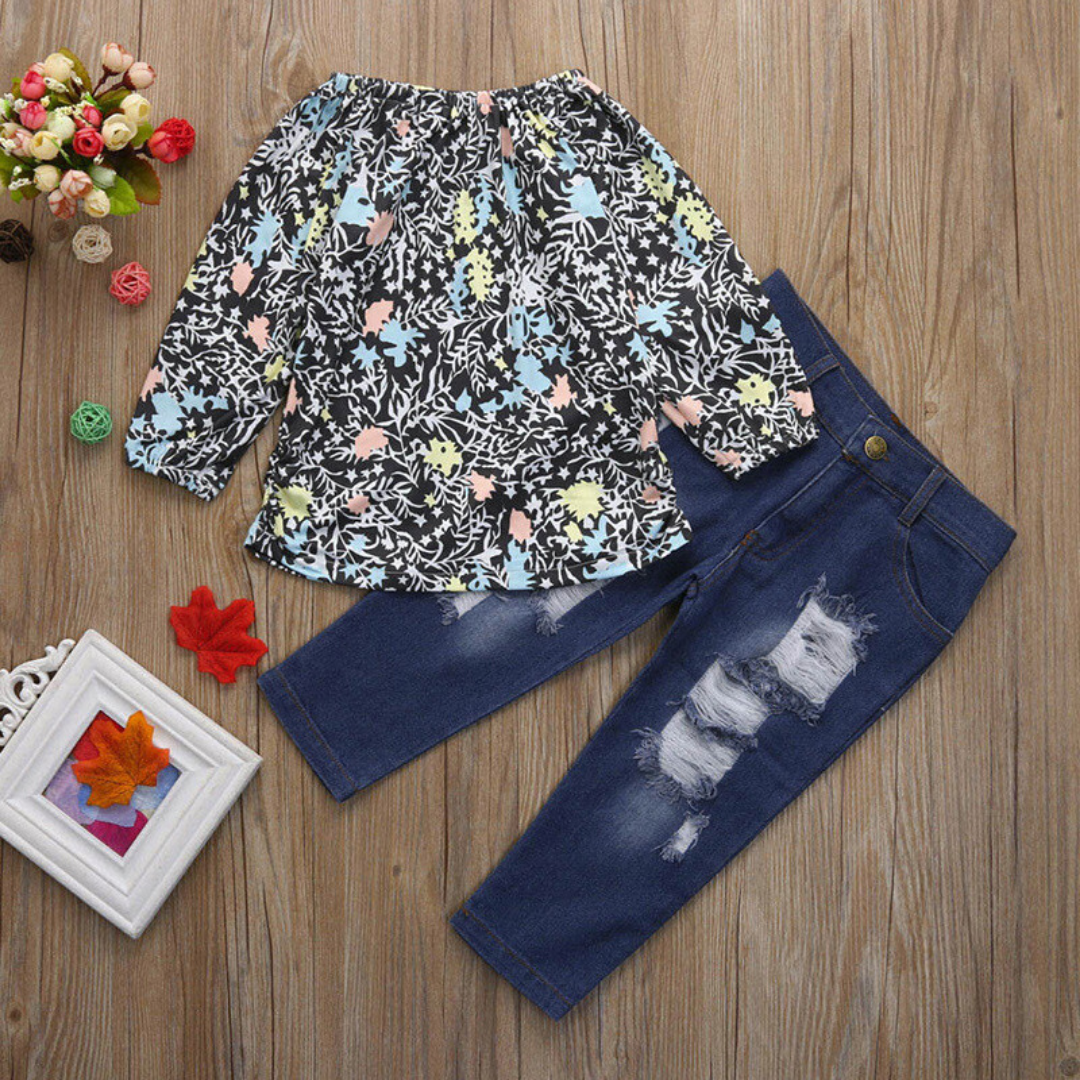 2-piece Toddler Girl Long-sleeve Top and Jean Set