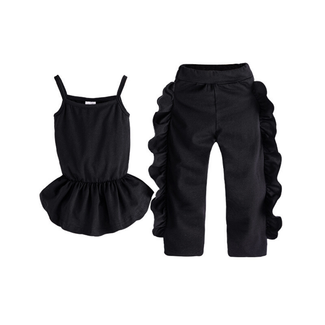 2-piece Baby / Toddler Black Top and Print Pant  Set