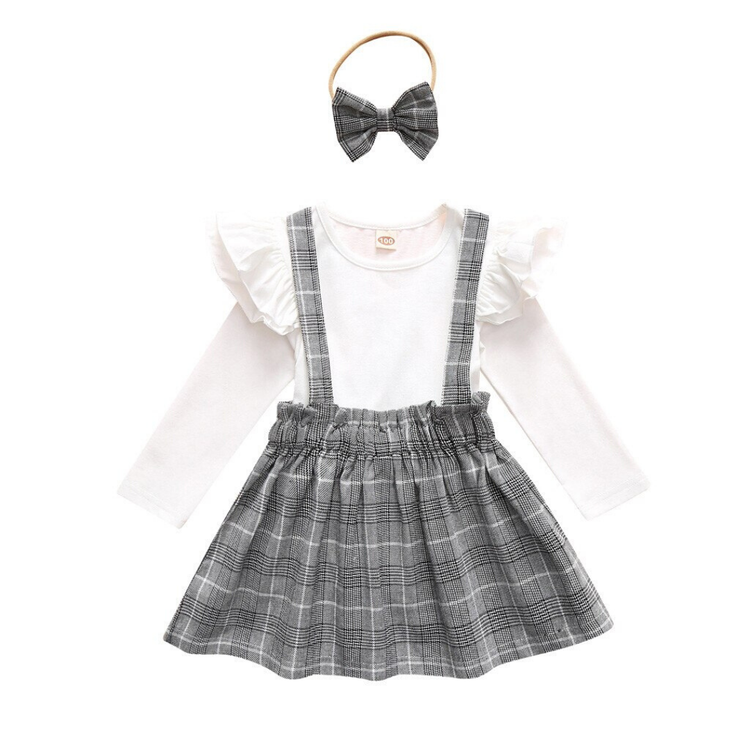 3-piece Baby / Toddler Girl Solid Top and  Skirt Set