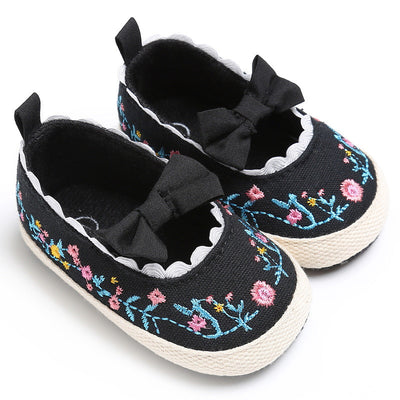 Bow embroidery baby Soft toddler Shoes