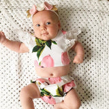 Lace Peach printing baby Two pieces