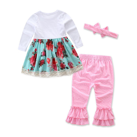 baby Europe and the United States Cake shirt Dot Pants + Headdress
