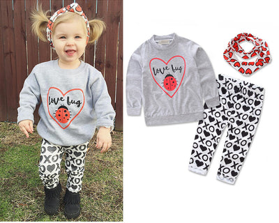 Baby  long sleeves shirt +  trousers + Headband 3 sets