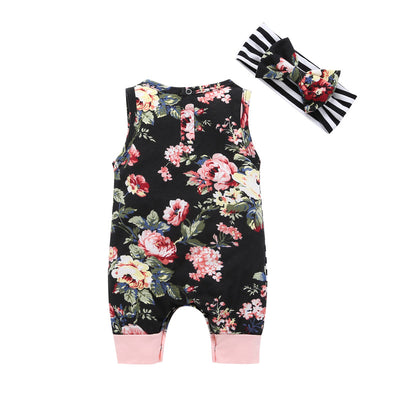 baby printing Stitching sleeveless Conjoined + Scarf