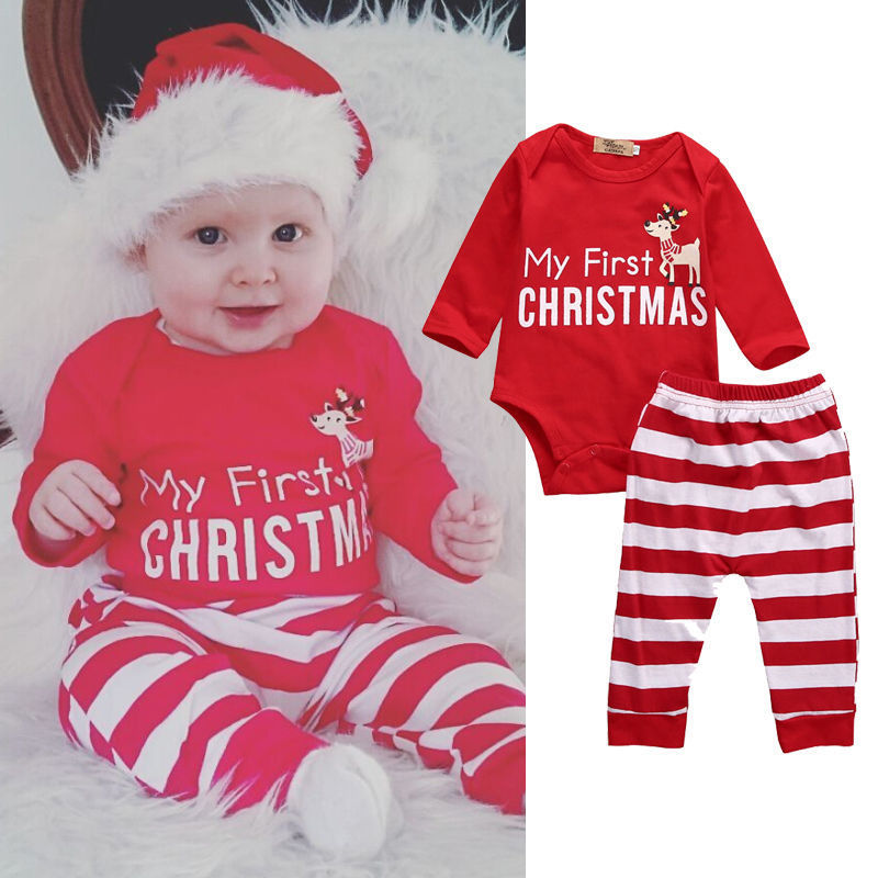 """My First Christmas"" Onesie + Striped Pants Set"