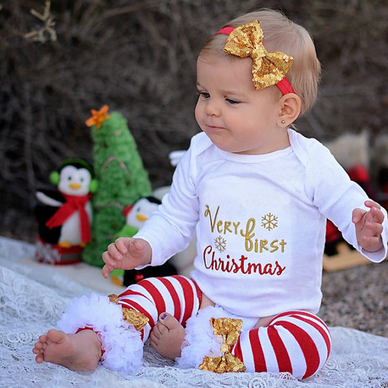 My First Christmas baby Long-sleeved jersey + Striped lace socks 3 sets