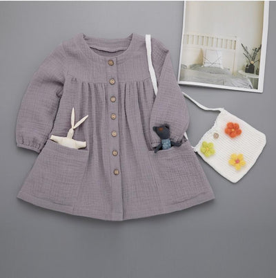 Baby / Toddler Casual Solid Pocket Design Long-sleeve Dress