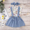 3-piece Baby / Toddler Flower Print  Top and denim dress Set