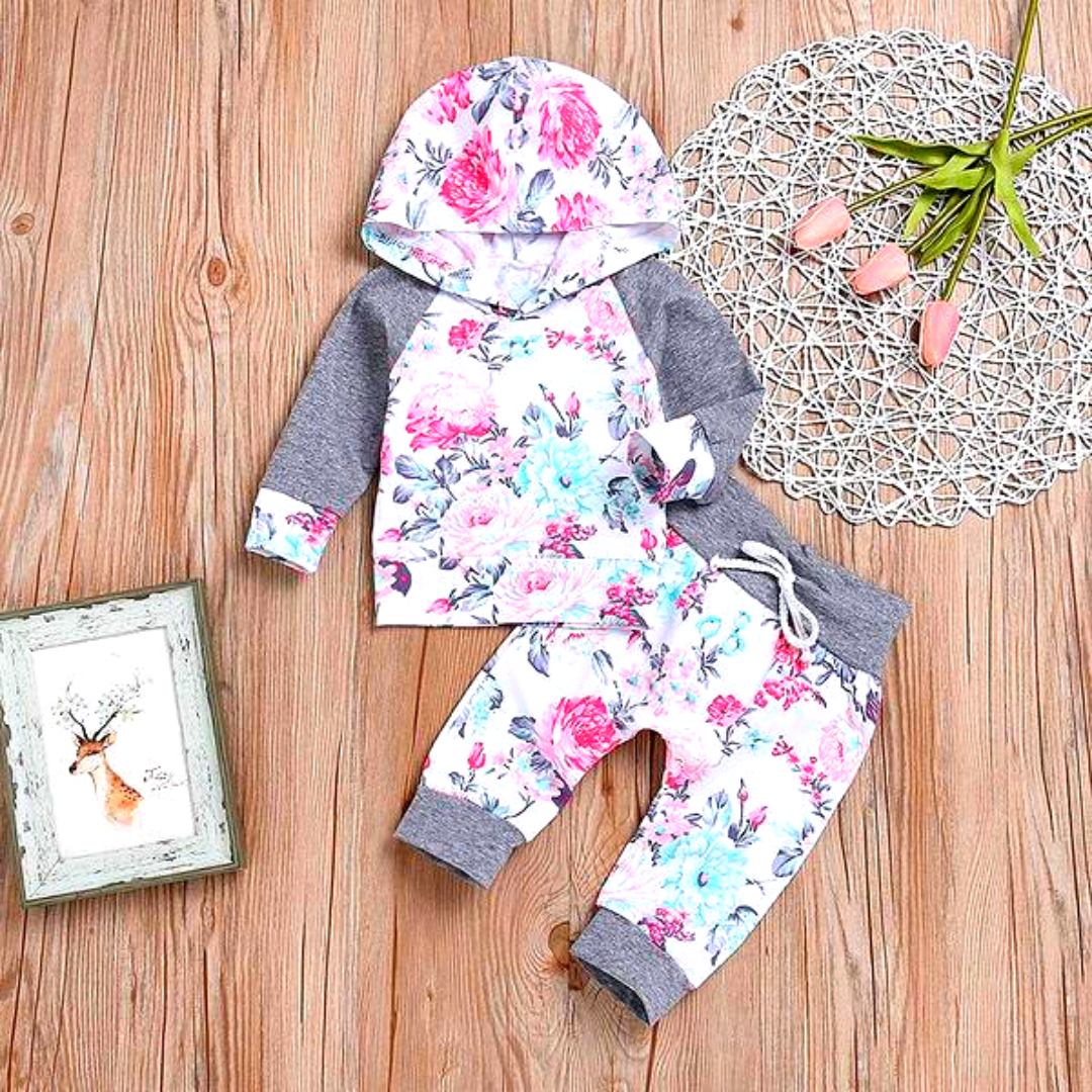 2-piece Pretty Floral Hooded Top and Pants Set for 1-3 Years Girl