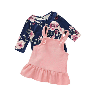 2-piece Baby / Toddler Girl Sweet Floral Long-sleeve Top and Solid Knot Suspender Dress Set