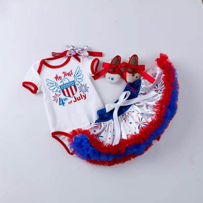 "4-piece  Embroidered  ""My 1st 4th of July"""