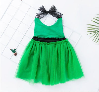 New 2019 summer girls mermaid lace sling fashion dress Sets