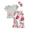 3-piece Baby Girl Solid Ruffled Sleeve Top and Floral Pants with Headband Set
