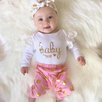3-piece Baby Girl  Bodysuit and Floral Belted Pants with Headband Set