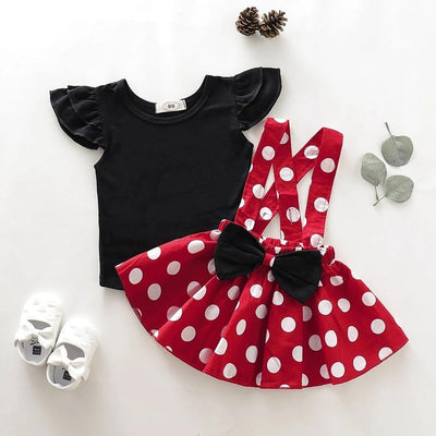Baby / Toddler Solid Flutter-sleeve Top and Polka Dots Overall Skirt Set