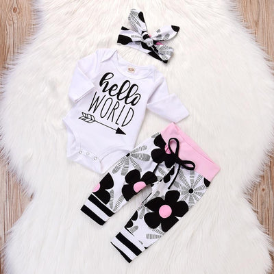 I Love Mama™ 3-piece Casual Letter Print Long-sleeve Bodysuit, Floral Pants and Headband Set