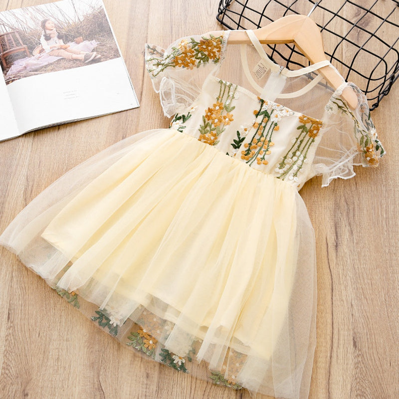 Toddler Girl's Floral Embroidery Tulle Dress