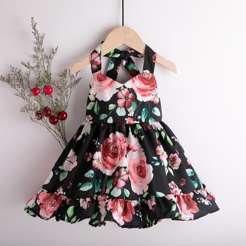 Baby/Toddler Girl's Flower Print Flounced Dress