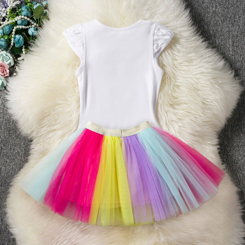 Sweet Unicorn Pattern Tee and Colorful Tulle Skirt