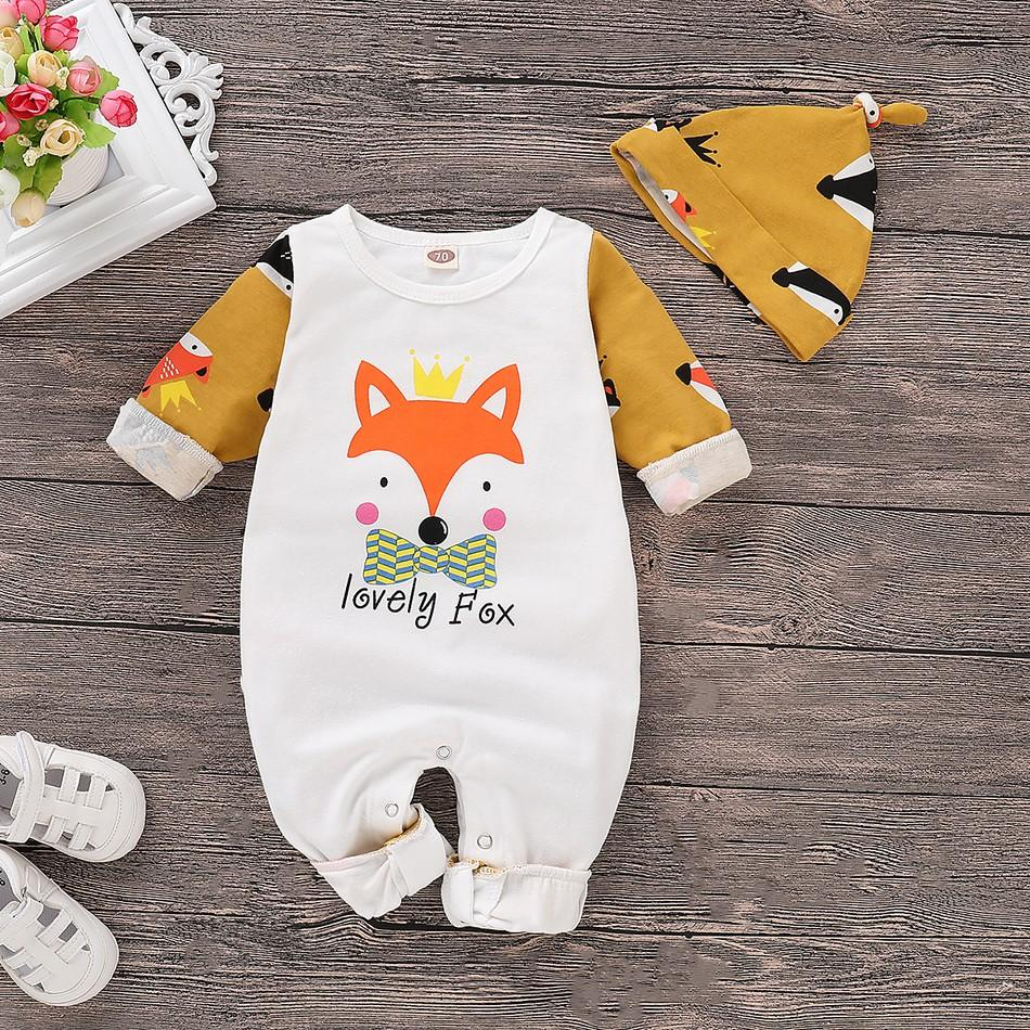 I Love Mama™ Fox Pattern Color Blocked Jumpsuit with Hat
