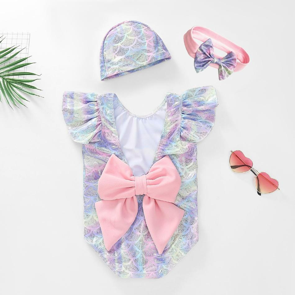 Big Bow Mermaid Swimsuit with Hat and Headband-Bathing Suit