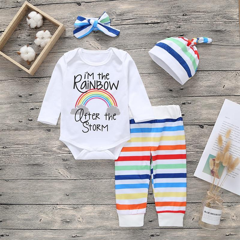 Pretty 'I'M THE RAINBOW' Letter Print Bodysuit, Striped Pants, Hat and Headband Set for Baby