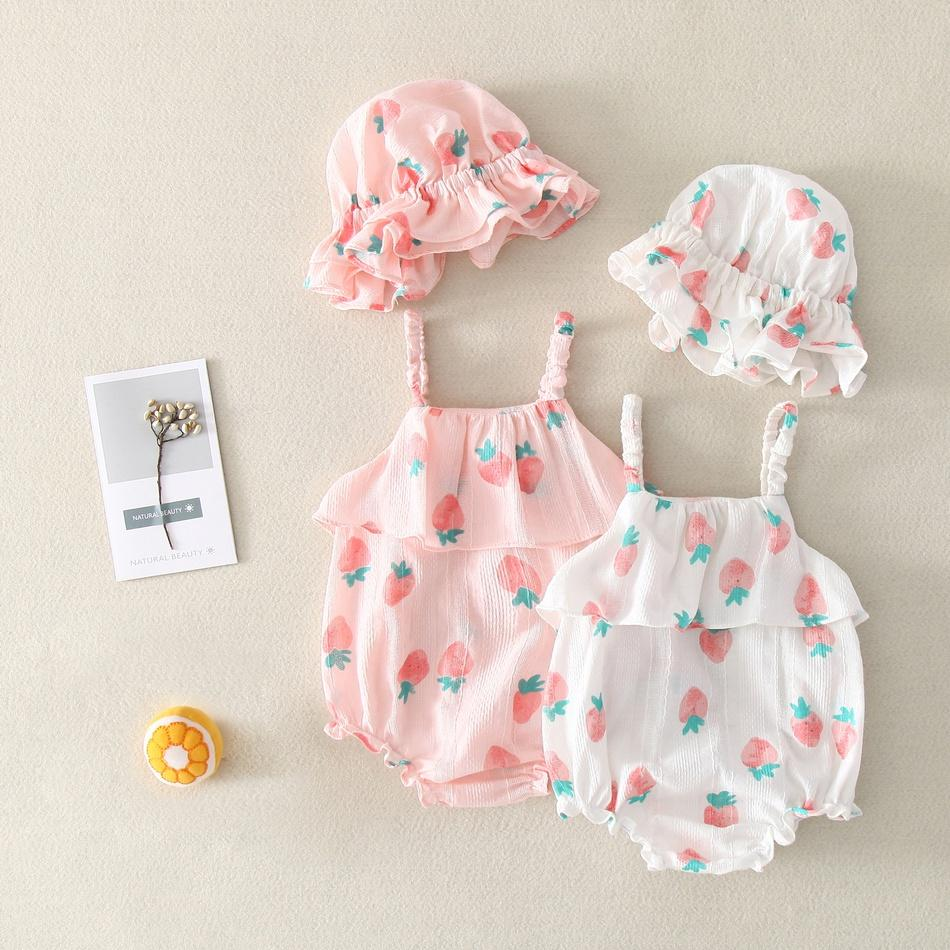 I Love Mama™ 2019 New Strawberry Pineapple Fruit Watermelon Full Cotton Bodysuit Jumpsuit Romper Two pieces sets Hat