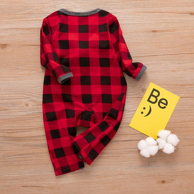 Baby Deer Print Pompom Decor Plaid Style Long-sleeve Jumpsuit