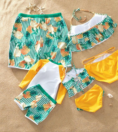 Mosaic Pineapple Stripe Swimsuit for Family Matching-Bathing Suit