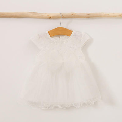 I Love Mama™ Baby / Toddler Solid Embroidered Floral Dress