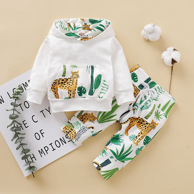 Baby Leopard Print Hoodie and Pants Set
